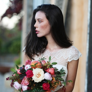 Bride With Colorful Autumnal Bouquet
