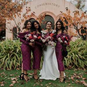 Off the shoulder plum bridesmaid dresses