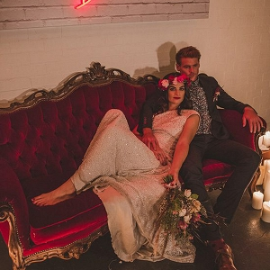 Red Velvet Couch Wedding Portrait