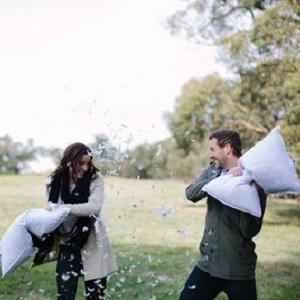 Pillow Fight Engagement Shoot
