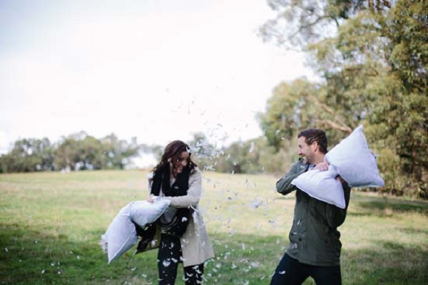 Pillow Fight Engagement Shoot