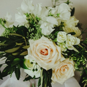 Wedding Bouquet With Peach Roses