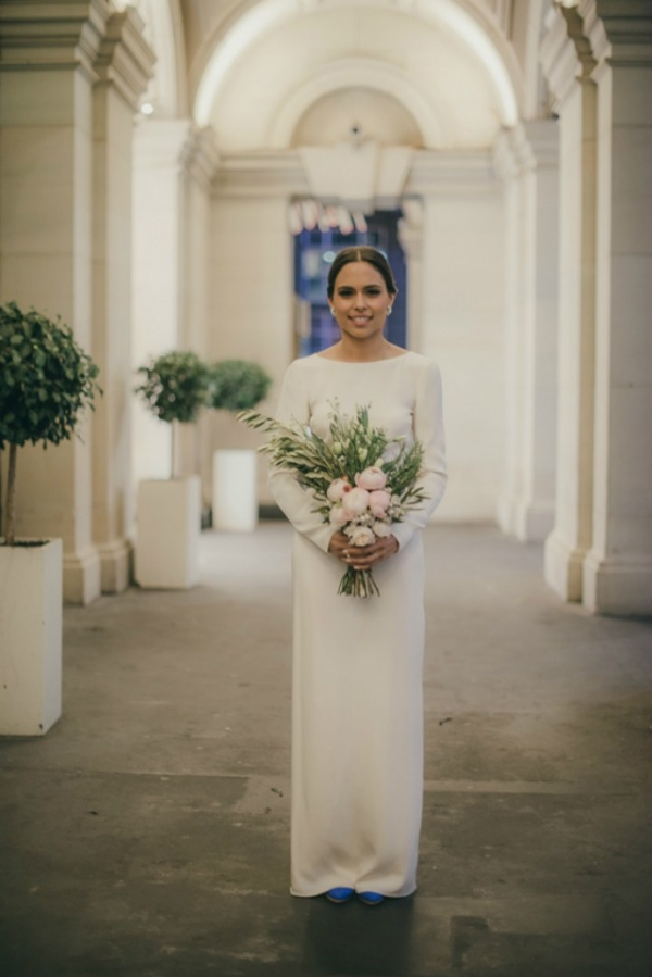 Bride Wearing Long Sleeve Wedding Gown