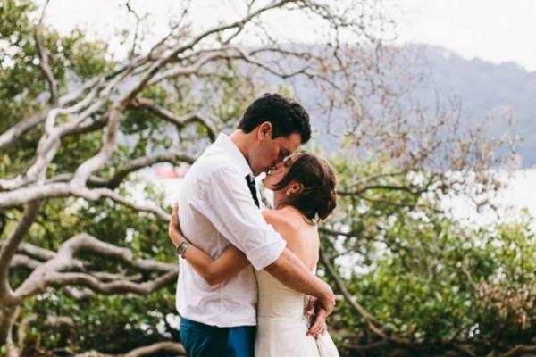 Newlyweds Sweet Kiss