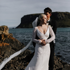 Dramatic coastal Tasmania wedding portrait
