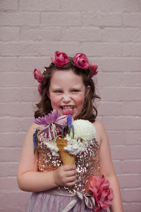 Flower girl with flower ice cream cone