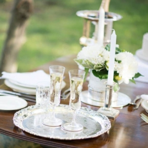 Silver & White Table Setting