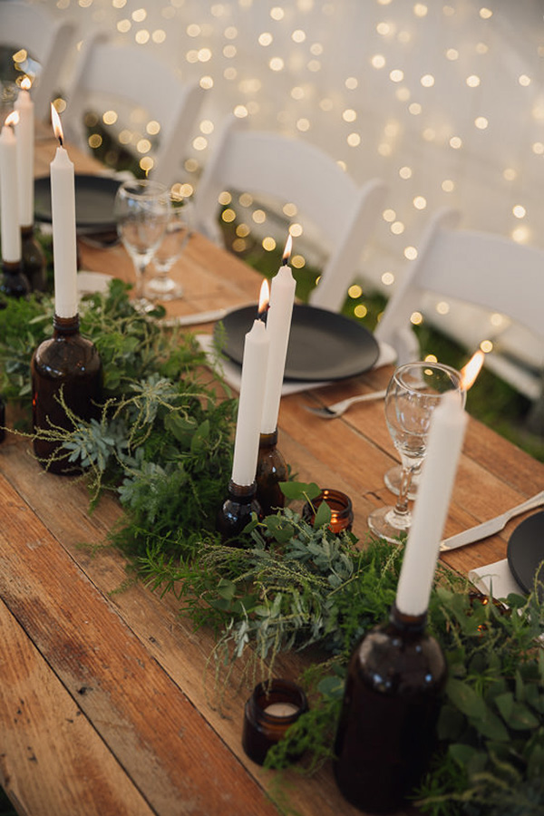 Wood Table With Greenery Garland