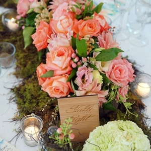 Pink, Lime And Orange Wedding Centrepiece