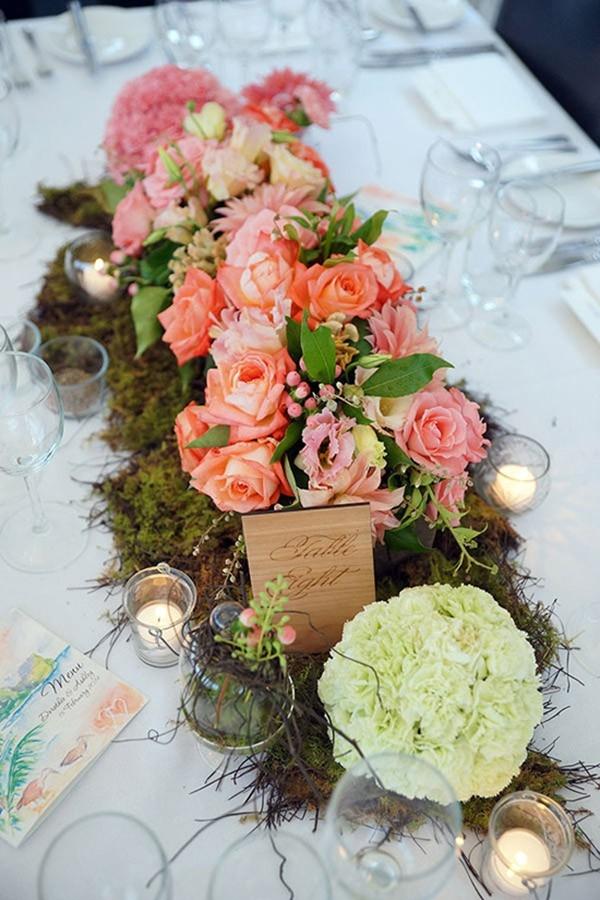 Pink, Lime And Orange Wedding Centrepiece
