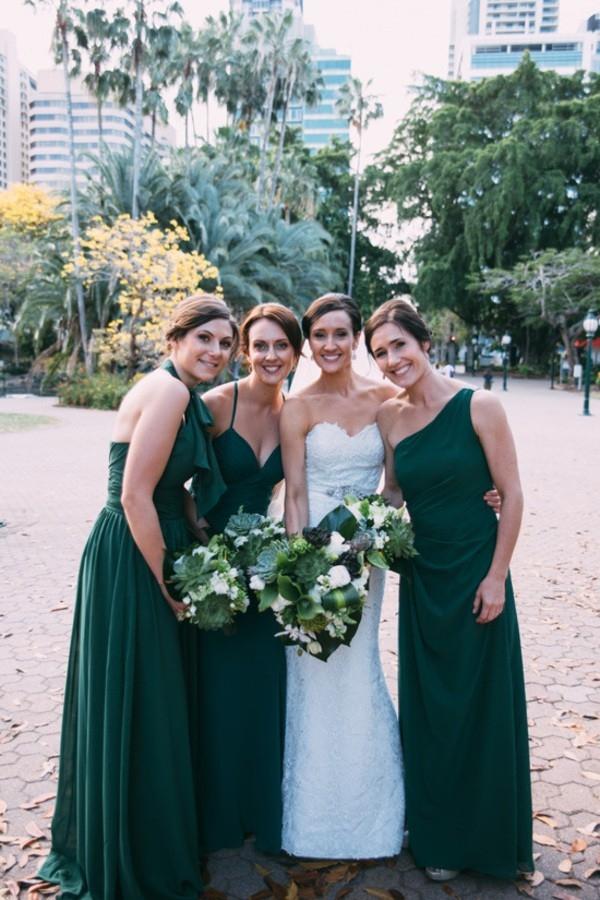 Bride and Bridesmaids In Emerald Green