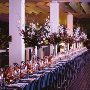 Long Tables With Indigo Linens