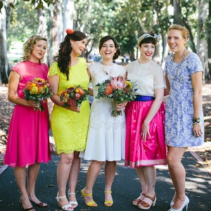Bridesmaids In Neon Dresses