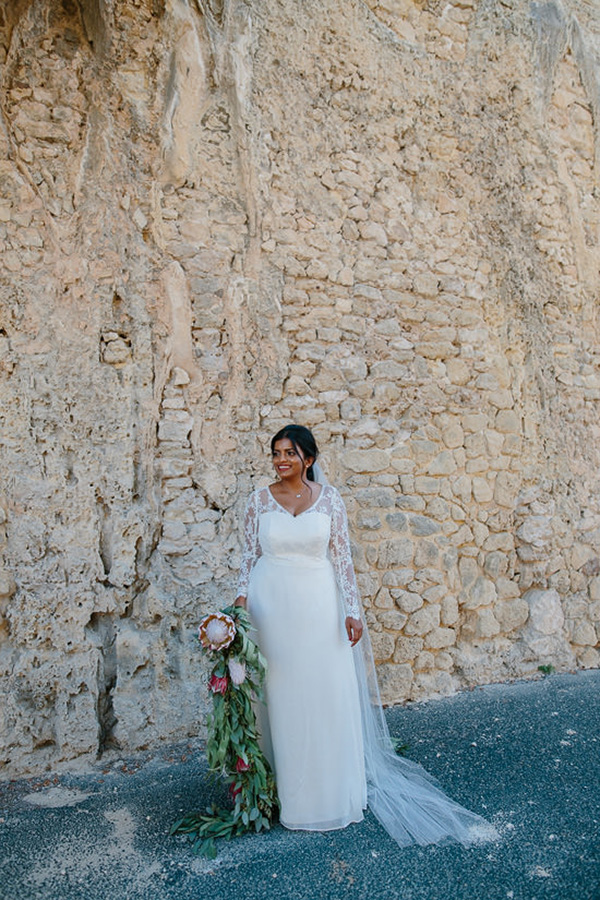 Bride With Long Sleeve Lace Gown