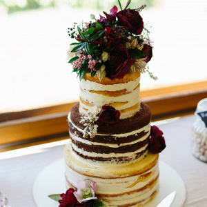 Naked Wedding Cake With Marsala Roses