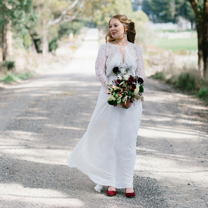 Bride Wearing Long Sleeve Gown