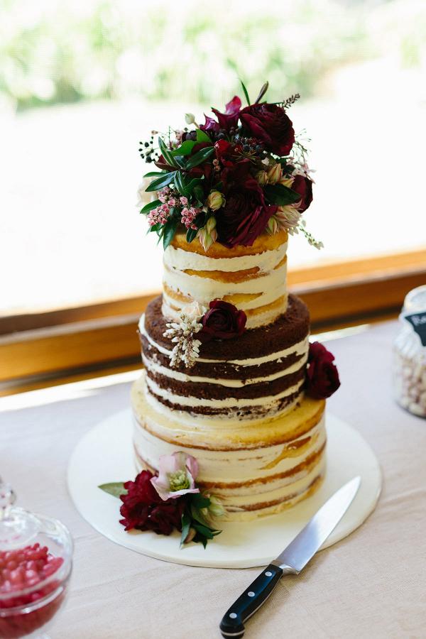 Naked Wedding Cake With Marsala Roses