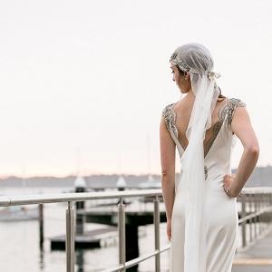 Backless Wedding Dress WIth Juliet Cap Veil