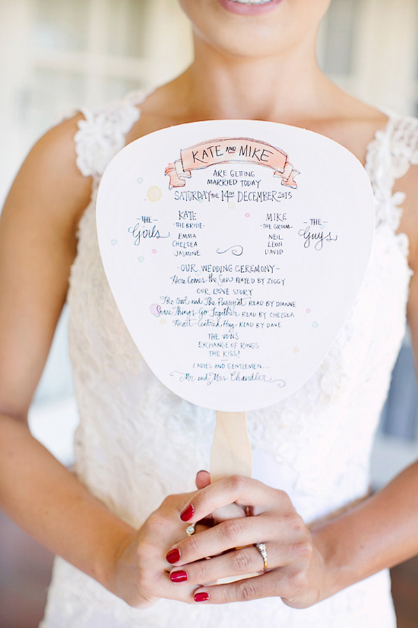 Handpainted Wedding Program Fan