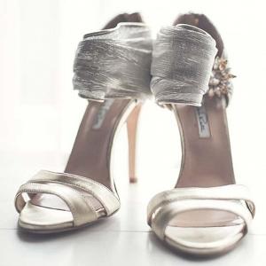 Oscar De La Renta Silver Shoes