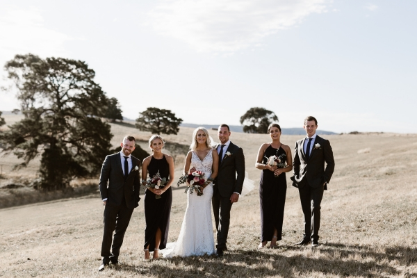 Bridal Party In Countryside