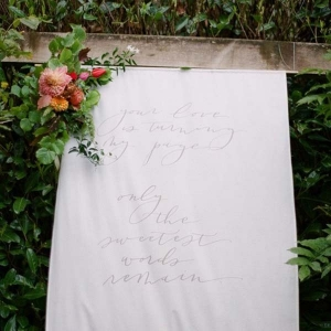 Fabric Hand Lettered Wedding Sign