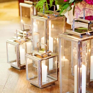 Silver Lanterns With Pillar Candles