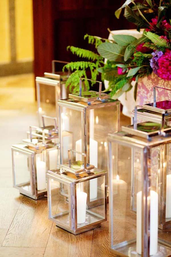 Silver Lanterns With Pillar Candles