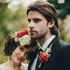 Bride and Groom In Marsala Tones