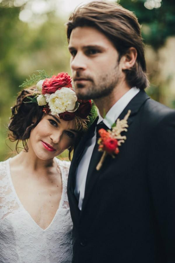 Bride and Groom In Marsala Tones