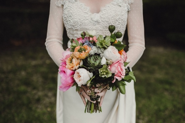 Peony, rose, and succulent bouquet