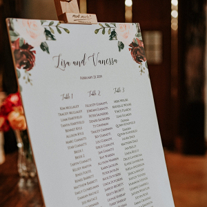 Floral printed wedding seating chart