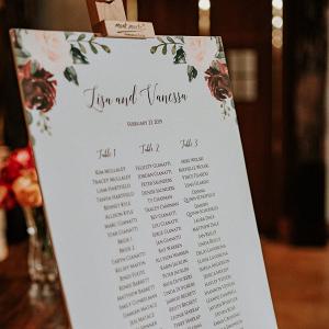 Floral printed wedding seating chart