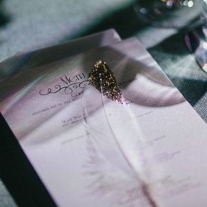 Wedding Place Setting With Glitter Feather