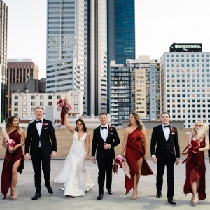 Red, black, and white bridal party