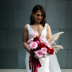 Modern pink and red bridal bouquet