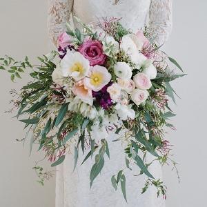 Pink Flower Bouquet Wih Eucalyptus