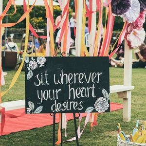 Chalkboard Sign With Streamers