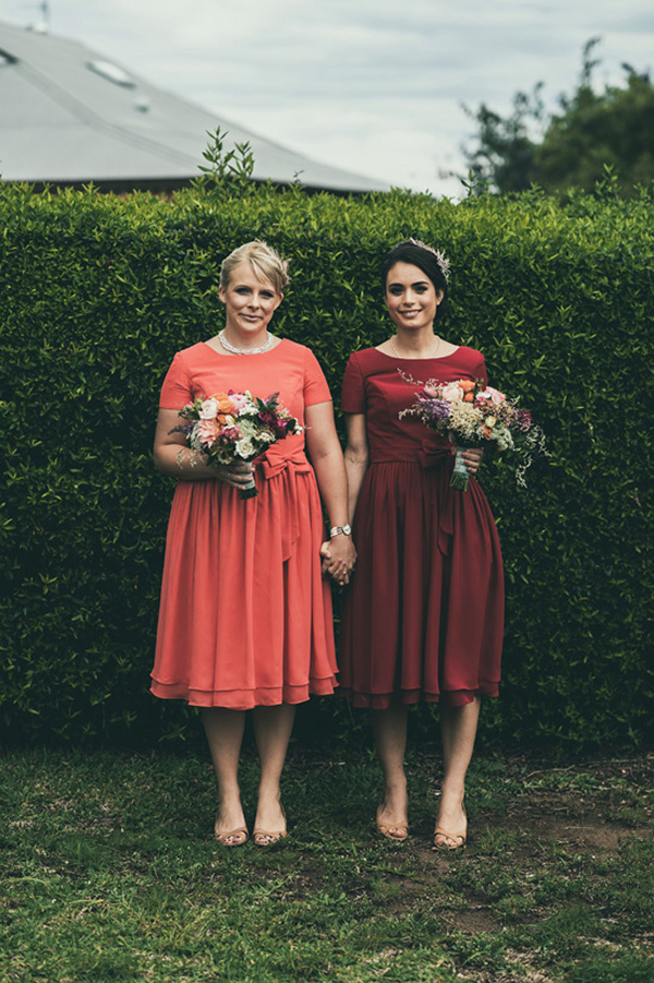 Bridesmaids In Watermelon And Marsala