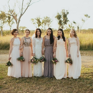 Mismatched Beaded Bridesmaid Gowns