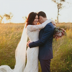 Romantic Sunset Wedding Portrait