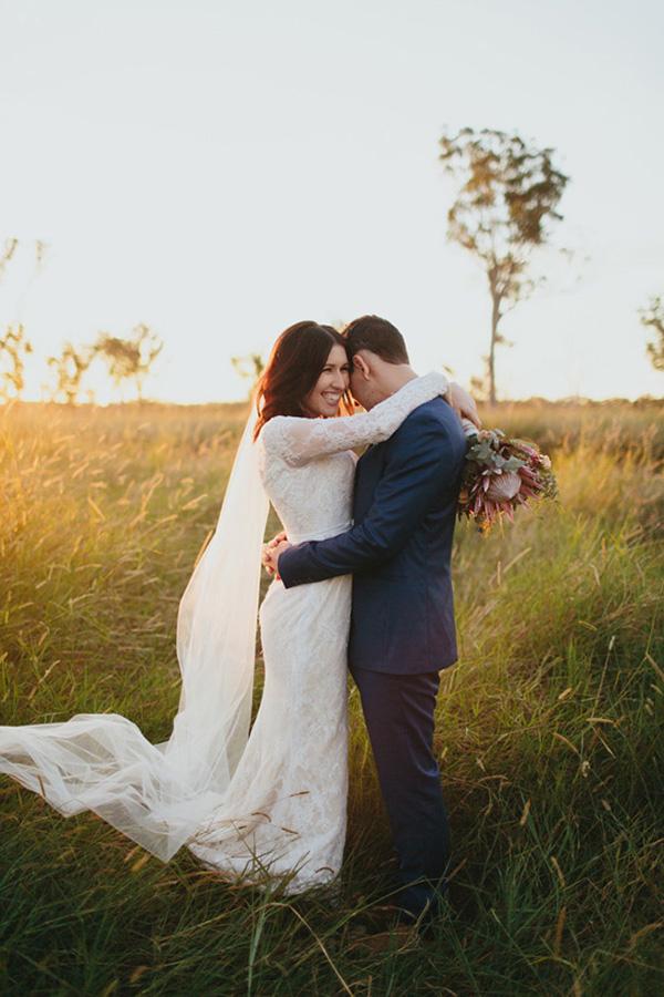 Romantic Sunset Wedding Portrait