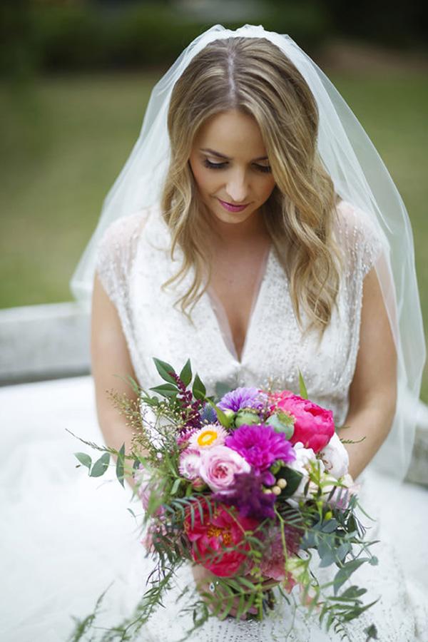 Elegant Bride WIth Magenta Bouquet