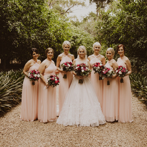 Bridesmaids in Floor Length Pink Gowns