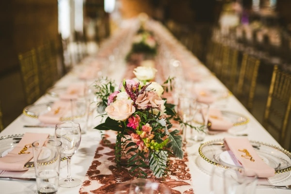 Pink and gold tablescape with sequin runner