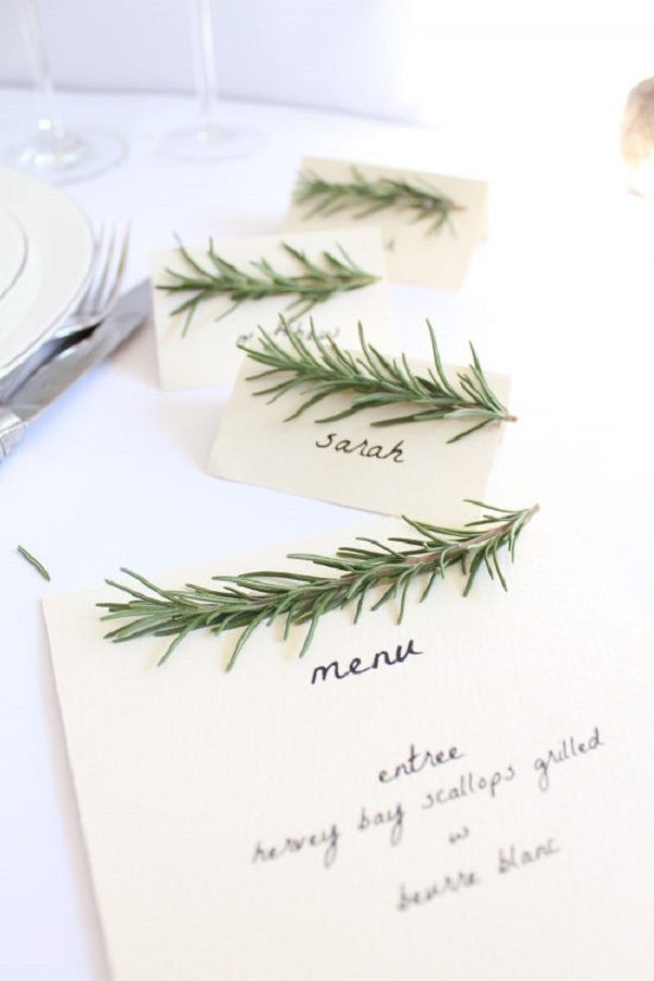 Rosemary Themed Menu and Place Cards