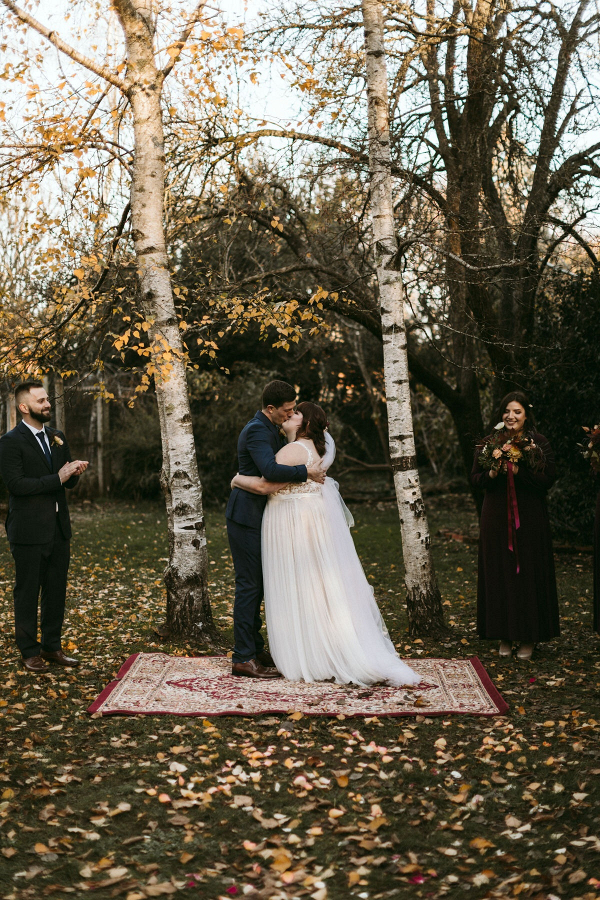 Outdoor autumn wedding ceremony