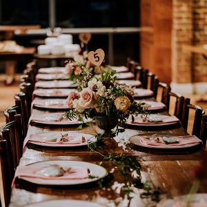Rustic long table wedding reception