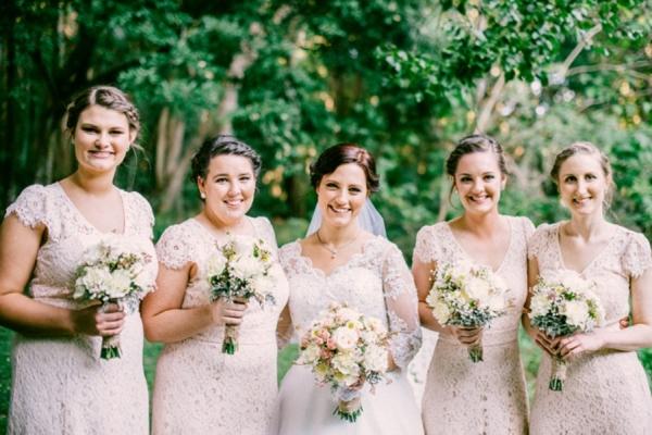 Bride & Bridesmaids In Pale Pink