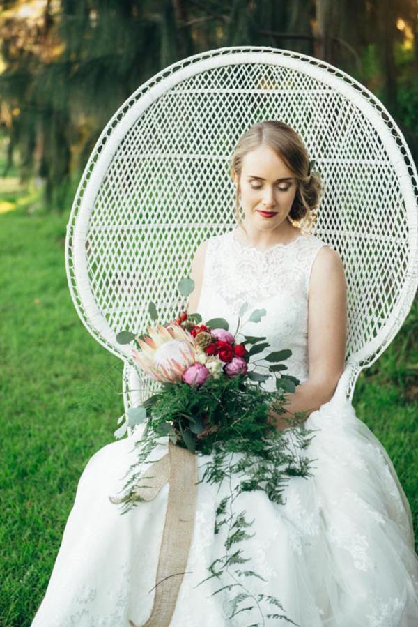 Boho Bride In Peacock Chair